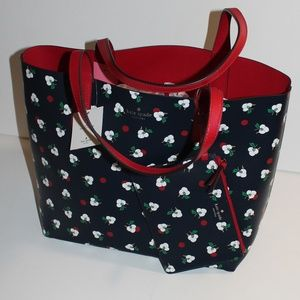 NWT! Kate Spade Leather Reversible Floral Tote
